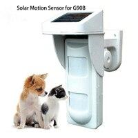 WIFI Alarm G90B Outdoor Motion Sensor Solar Powered External Weatherproof Pet Friendly PIR Detector with 2 PIR