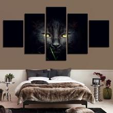 лучшая цена Modular Home Decorative Canvas HD Painting 5 Panel Animal Cat Framework Wall Art Prints For Living Room Picture Poster Frame