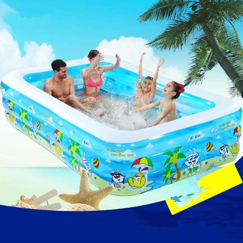 2017 Infant &Children's Inflatable Swimming Pool Large Family Swimming Pools Ocean Ball Pool Adult Bathtub Thickened dual slide portable baby swimming pool pvc inflatable pool babies child eco friendly piscina transparent infant swimming pools