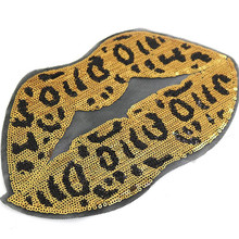 Leopard lips Patches for clothing T shirt women Sequined Sequins T-shirt Women Fashion Tops Shirt Girl Biker Patch Clothes