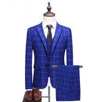 (Jacket+Vest+Pants) 2018 spring fashion Jacquard Men Suits Fashion Plaid suits Men's business wedding Suit men Full dress