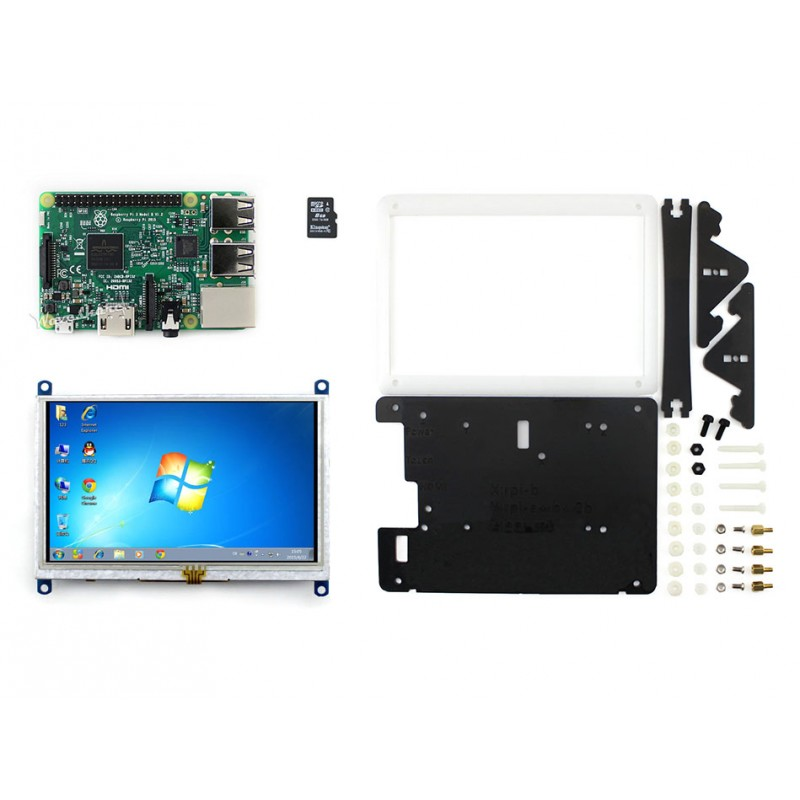 module RPi3 B Package E# Raspberry Pi 3 Model B Development Kit+ 5inch Screen 800*480 HDMI LCD (B) + Bicolor case + 8GB Micro SD