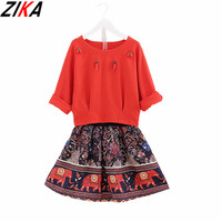 ZIKA Mother Daughter Dresses 2017 Fashion Cartoon Elephant Family Look Matching Clothes Mom And Daughter Dress