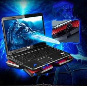 Image 4 - Кулер для ноутбука с 2 портами usb и 6 охлаждающими вентиляторами Бесшумная охлаждающая подставка для ноутбука Подставка для ноутбука 12 16 дюймов приспособление для ноутбука