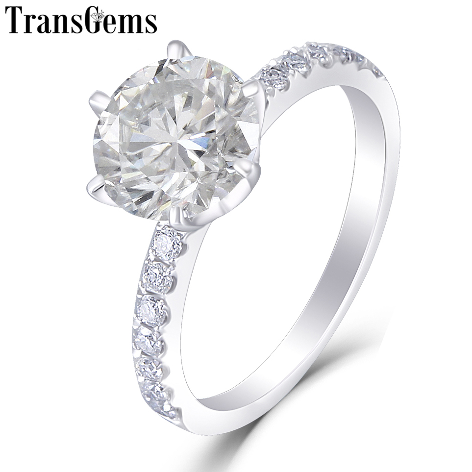 Transgems PT 950 Platinum 1.5ct Diameter 7.5mm F Color Moissanite Engagement Ring for Women Gift with Samall Moissanite Accents