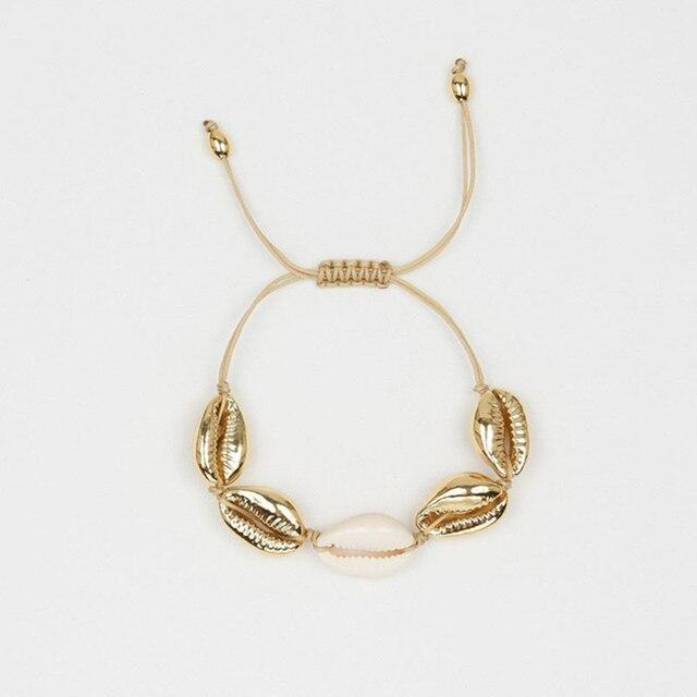 brixini.com - Golden Cowrie Shell Summer Beach Bracelets
