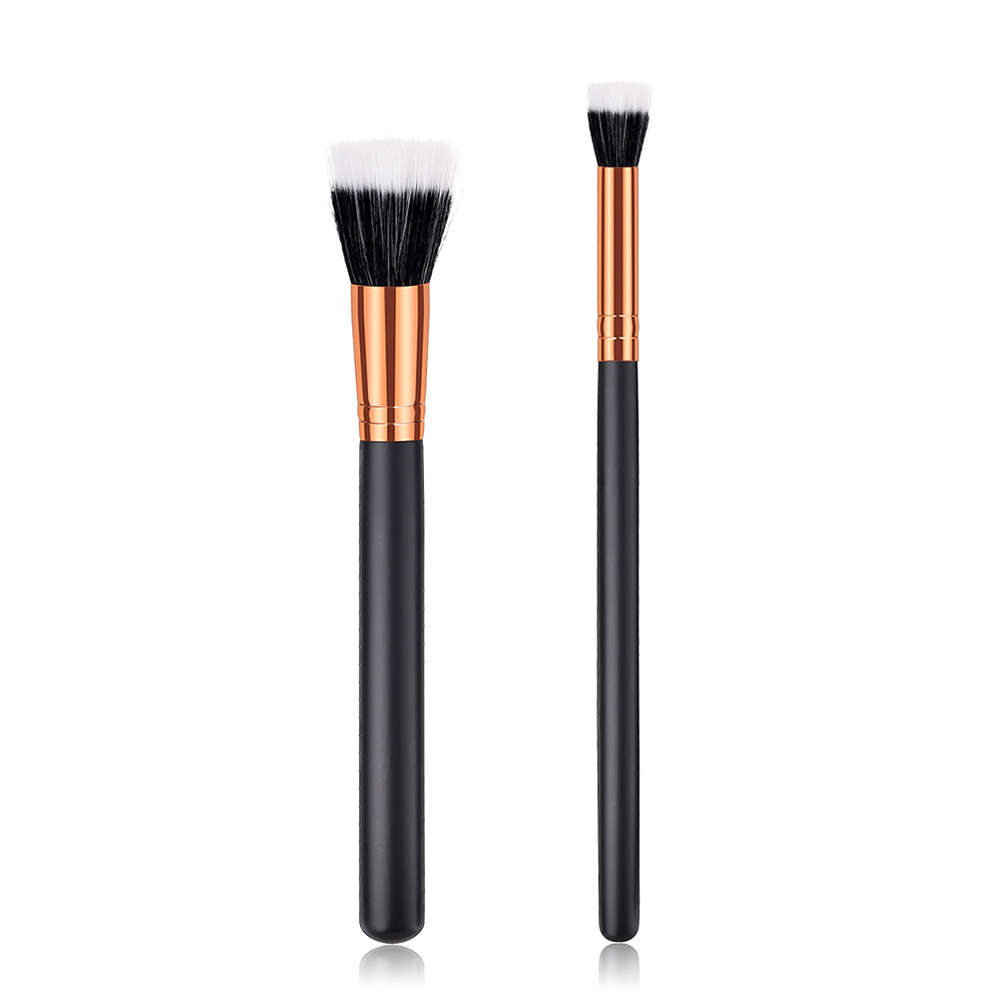 ELECOOL 1/1pcs Flat Top Cosmetic Brushes Wooden Handle Nylon Hair Stylish Portable Found ...
