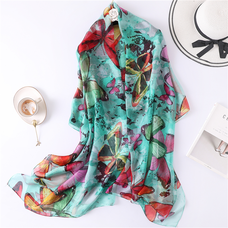 2019 spring summer women   scarf   Butterfly print big size shawls and   wraps   for lady silk   scarves   pashmina beach stoles foulard