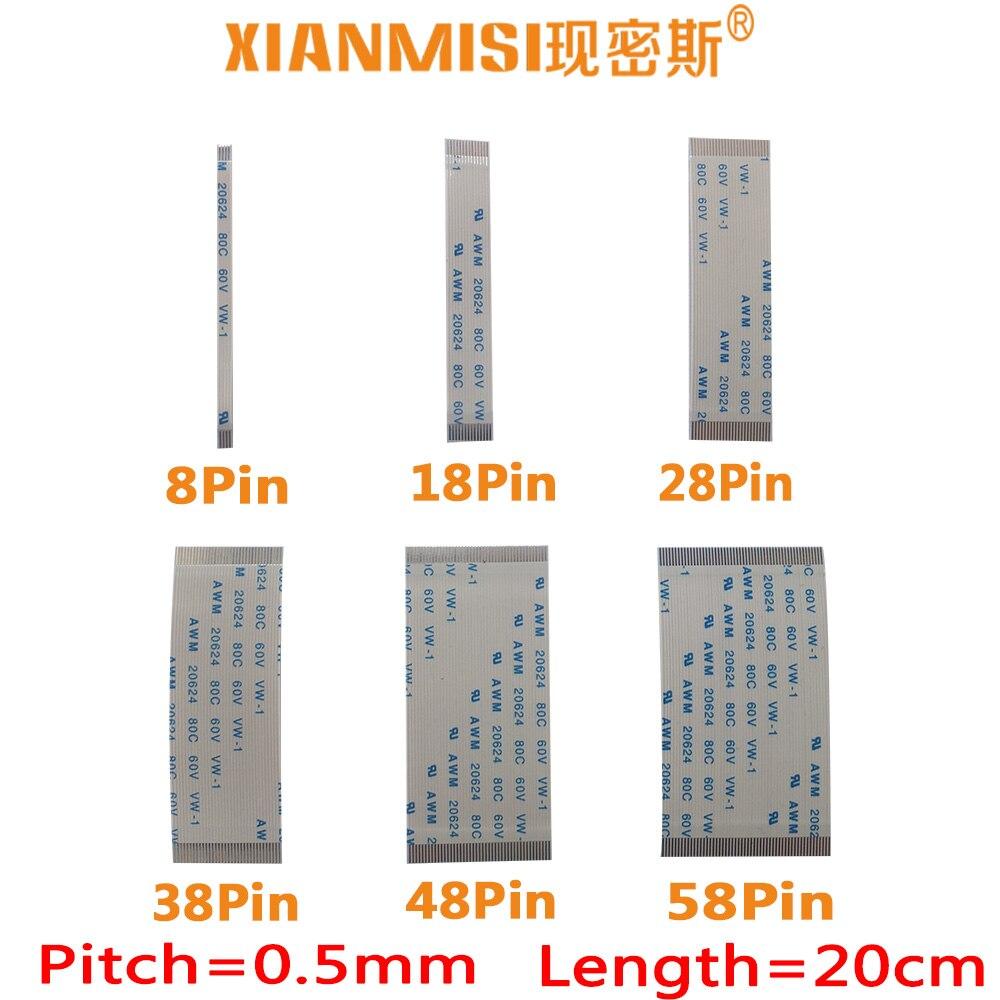 FFC/FPC Flat Flex Cable 8Pin 18Pin 28Pin 38Pin 48Pin 58Pin Same Side 0.5mm Pitch AWM VW-1 20624 20798 80C 60V Length 20cm 5PCS