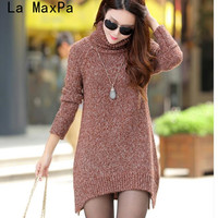 2017 Autumn Winter New Fashion Women Turtleneck Sweater Korea Brand Lady Casual Long Pullover Thicken Warmth