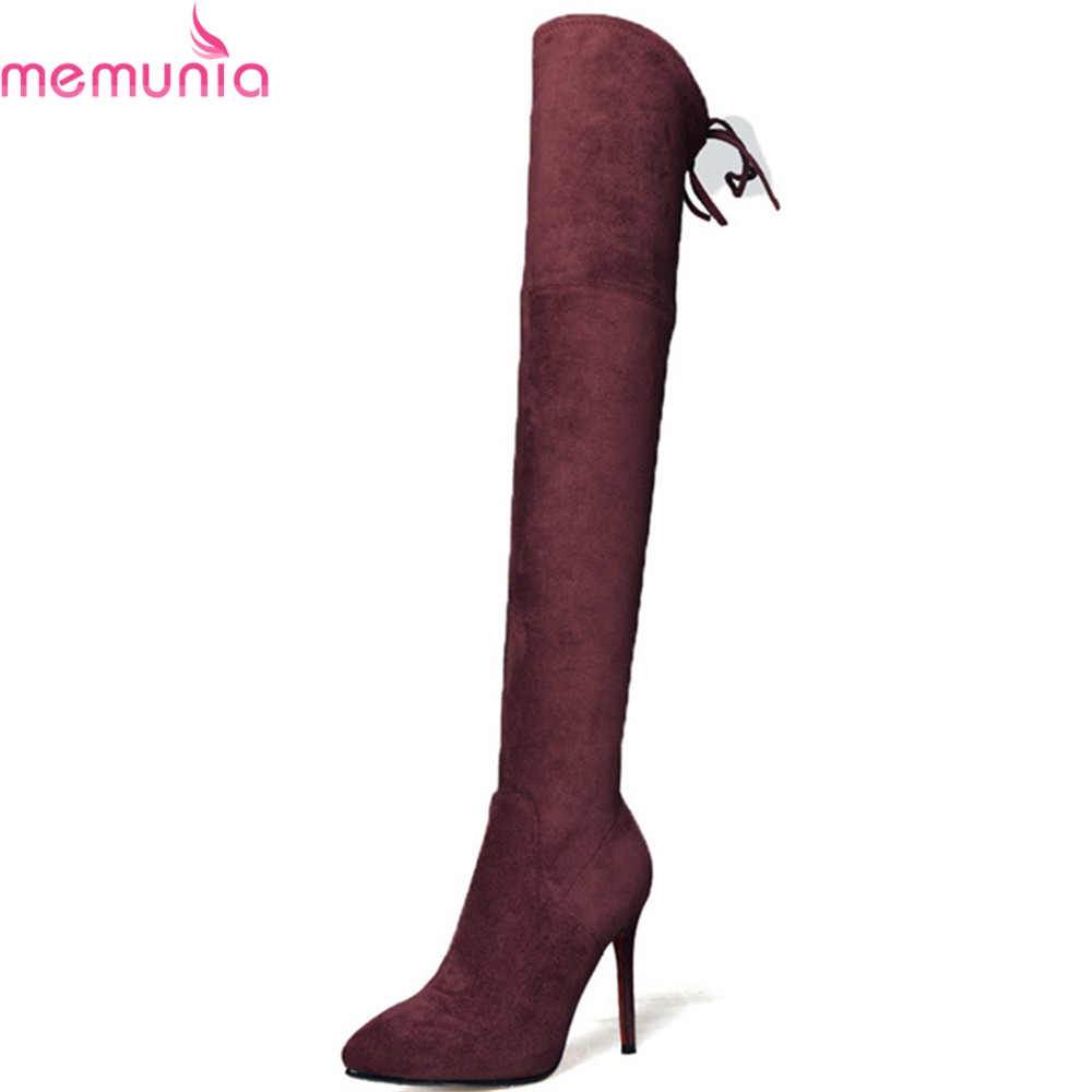 MEMUNIA 2018 fashion autumn winter new women boots pointed toe ladies boots flock black gray wine red sexy over the knee boots new 2017 spring summer women shoes pointed toe high quality brand fashion womens flats ladies plus size 41 sweet flock t179