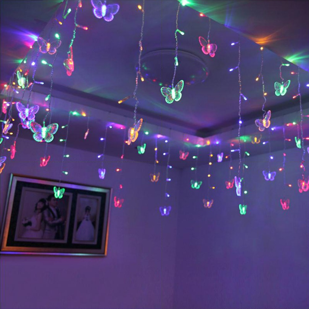 315CM*50CM String Light 48 LED Curtain Lights Butterfly Fairy Garlands Outdoor Garden Wedding Party Chrismas Decoration JQ