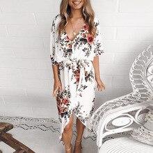 2019 Summer Print Floral V-Neck Long Maxi Dress Slim Belted Bohemian Party Dresses Female Sexy Beach Dress Plus Size Vestido