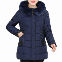Winter Woman Fur Hooded Parka Female Warm Puffer Hood Basic Coat Middle Aged Womens Casual Quilted Jackets With Hood Outerwear elderly women puffer jackets withe fur hood parka grandmother winter warm quilted basic coats floral printing quilted puff coat
