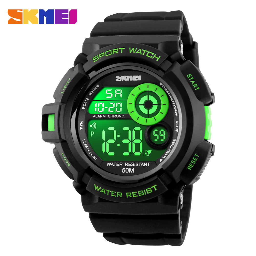 New SKMEI Brand S SHOCK Sports Watches 5ATM Swim Climbing Military Watch Men Fashion LED Digital Watch Waterproof Men Wristwatch