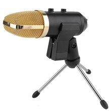 Nueva mk-f100tl USB condensador micrófono con trípode para vídeo grabación karaoke Radios estudio micrófono para PC
