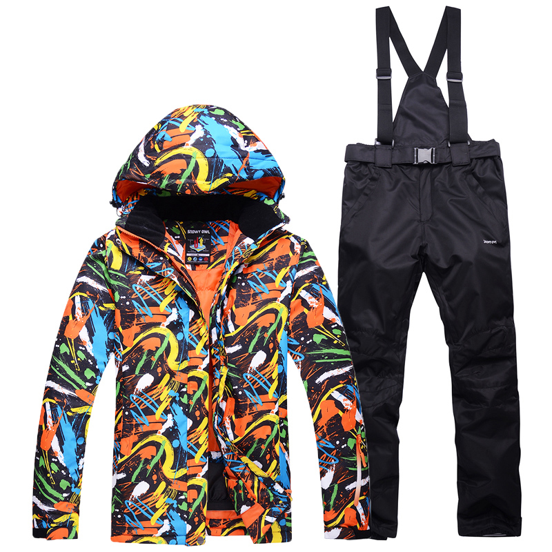 -30 Women's And Men's Skiing Suit Sets Snowboarding Costumes Waterproof Thick Winter Snow Suit Sets Jackets And Bibs Ski Pants