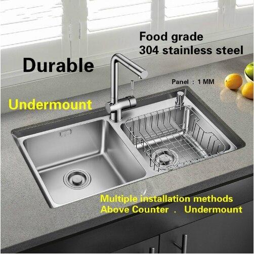Livraison gratuite Standard individualité grande cuisine double rainure évier en acier inoxydable entier dessin vente chaude 81x45 CM - 5