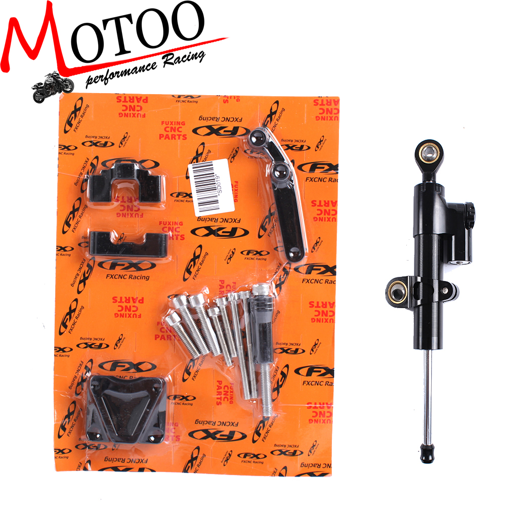 Motoo - CNC Steering Damper Complete Set for KAWASAKI NINJA300 2013-2017 with bracket kits cnc steering damper set stabilizer with bracket mounting assemblly for kawasaki ninja300 ninja 300 ex300 13 14 15 16 2013 2016