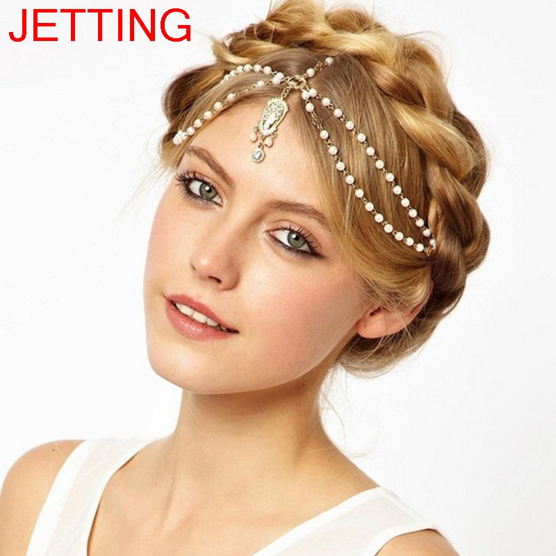 Bride Hair Decoration Women tassel Headband Indian Boho Beaded Head Piece wedding Head Chain Hair jewelry