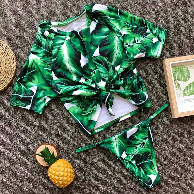 Women Thong Bikini Leopard Leaves Print Bikinis Swimwear Swimsuit Bathing Swimming Suit Biquini Maillot De bain Femme 2019 Mujer in Bikinis Set from Sports Entertainment