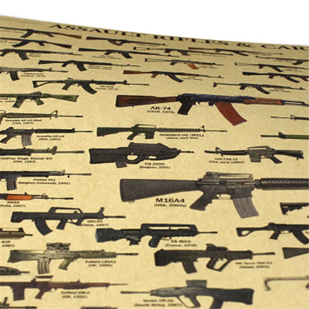 Classic Guns Poster Kraft Paper Antique Picture Wall Sticker Fans Room Decor