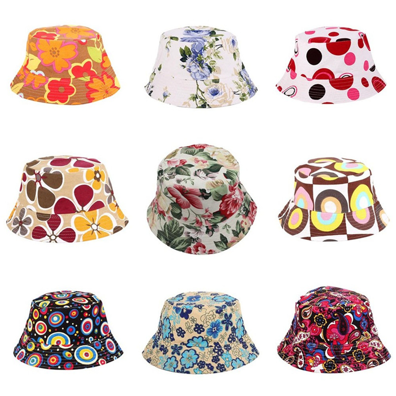 Men Women Bucket Hat Flower Print Cap 2018 Summer Colorful Flat Hat Fishing Boonie Bush Cap Outdoor Sunhat Wholesale #FM11 (12)