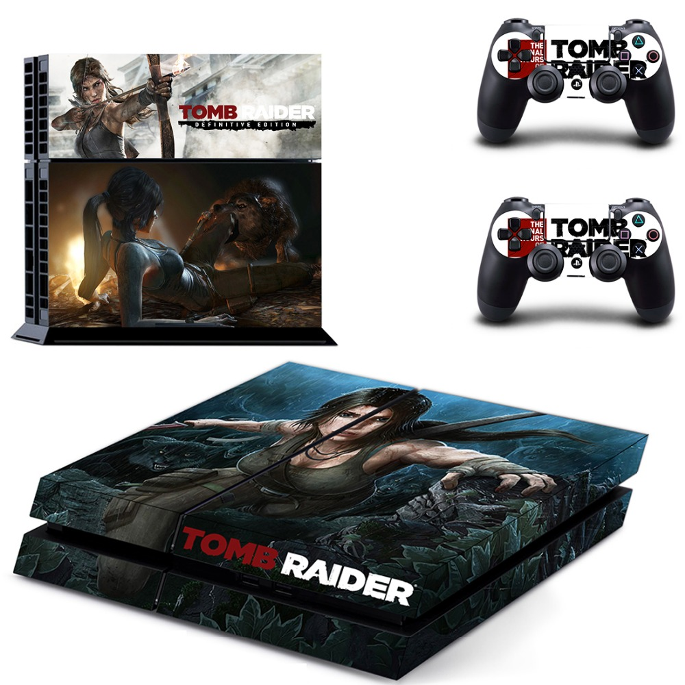Tomb Raider Vinyl Decal PS4 Skin Stickers Wrap for Sony PlayStation 4 Console and 2 Controllers Decorative Skins