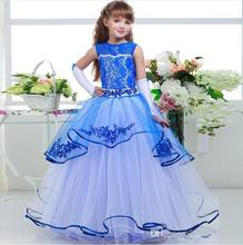 Blue Flower Girls Dresses For Weddings Lace Appliques Jewel Kids Birthday Wear Communion Dress Layers Girl