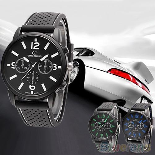 Men's Fashion Quartz Analog Silicone Band Stainless Steel Sports Wrist Watch  21S2 C2K5W