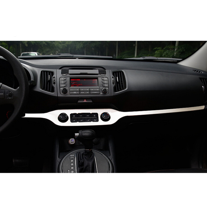 Car Styling Central Control Decoration Trim For Kia Sportage R 2010 2011 2012 2013 2014 2015 Stainless Steel Low Equiped 1Pc