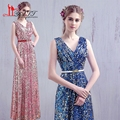 Stock 2017 Cheap Bridesmaid Dresses Under 50 Luxury Gold Silver Fuchsia Long Sequined Formal Wedding Party Dress Vestidos ZY133