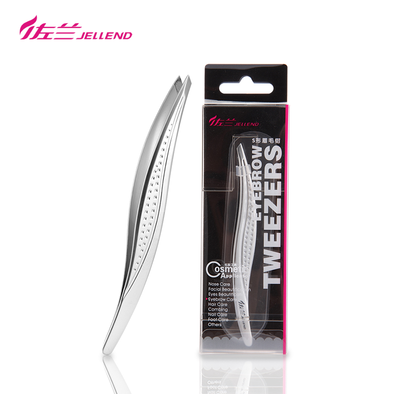 JELLEND Exquisite Slant Eyebrow Tweezers Makeup Remover Precision Stainless Steel Curved Eyebrows Styles Face Hair Tweezers Tool