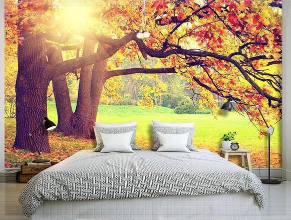 wallpaper autumn maple natural landscape backdrop wallpaper mural