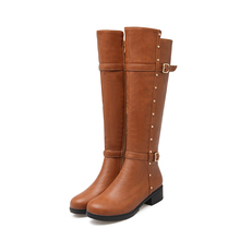 The new spring and autumn sexy women's boots round Gaotong side zipper boots with knee-high boots Knight size 34-43