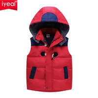 IYEAL 2018 Winter Kids Vest Boys Outerwear Spring Warm Hooded Vests Autumn Children Waistcoats Girls Jacket Coat for 3 7 Years