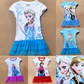 Summer Girl Kids Clothes Dress 2017 Cartoon Anna Elsa Cosplay Kids Girl Clothes Dress Brand Snow Queen Baby Party Dress For Girl