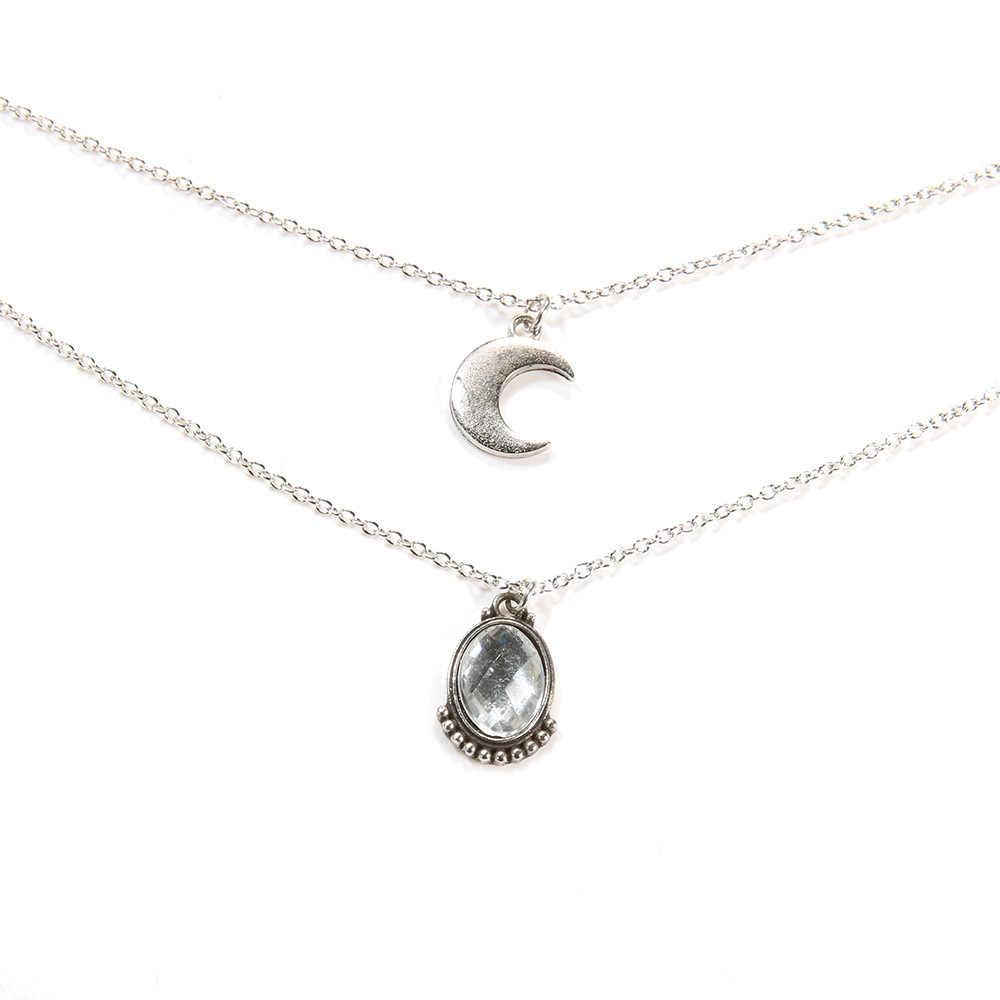 DIEZI богемное многослойное серебряное ожерелье-цепочка из ключицы подарок для девочек женское ожерелье с подвеской в виде Луны Модные Винтажные Ювелирные изделия