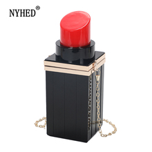 NYHED Women Clutch Handbag Female Fashion Lipstick Purse Bag Evening Party Chains Pouch