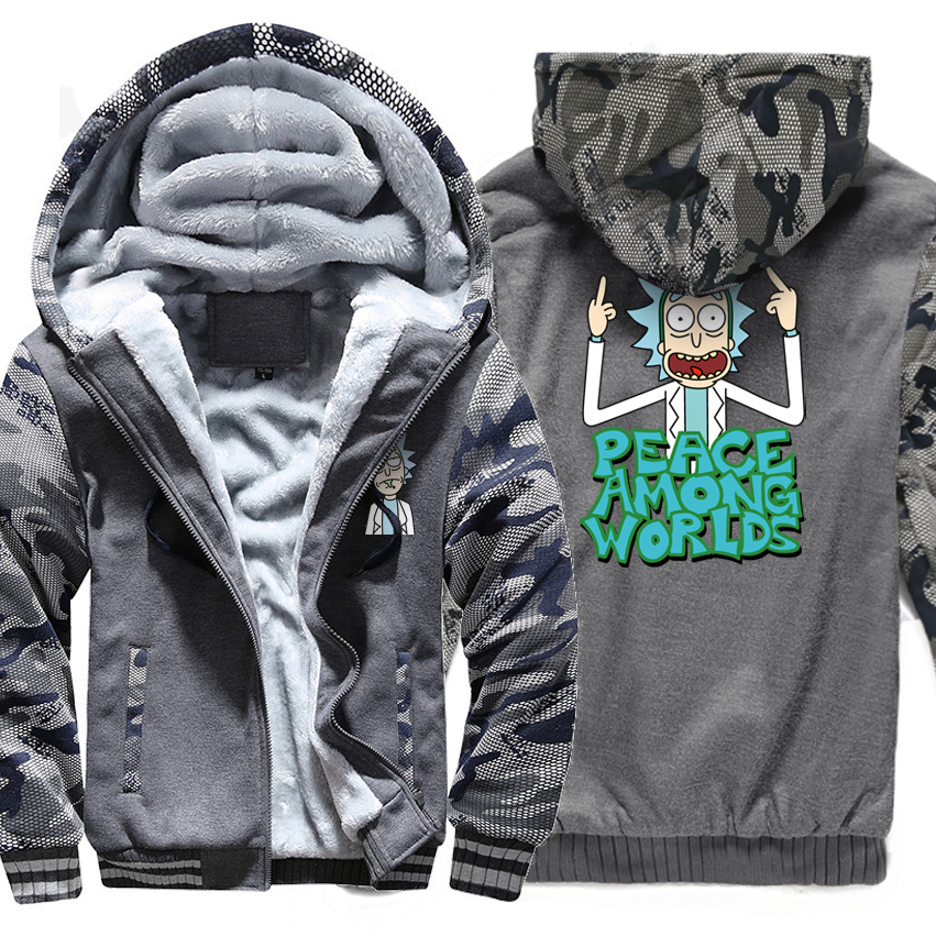 PEACE AMONG WORLDS Casual Hoodie 2018 Winter Zip UP Sweatshirt Men Hoody Print RICK AND MORTY Funny Hip Hop Jackets Harajuku New