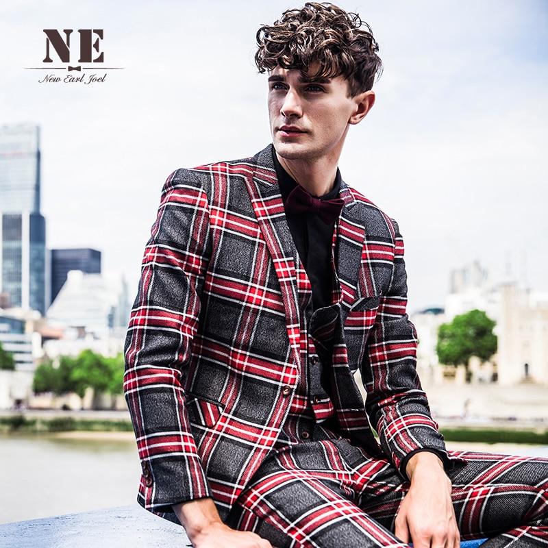 Brand Men's Clothing 2016 New Plaid England mens suit jackets mens formal wedding suit coat stage suit men single button suit - 2