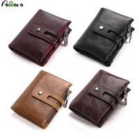 0e7003947 Retro Genuine Leather Men Wallets Bifold Card Holder Short Coin Purse Small  Vintage Wallets Zipper Men. Cartera de cuero genuino Retro para hombre ...