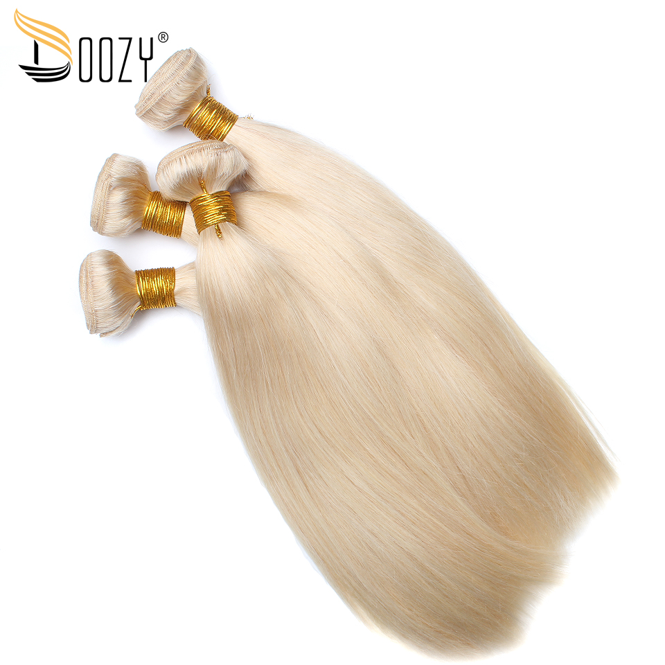 Doozy Color 613 Russian Blonde Human Hair 4 Bundles Straight Hair Extensions Remy Brazilian Hair Weaving