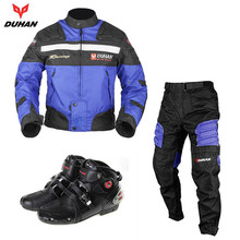 DUHAN Men's Oxford Cloth Body Protector Guards Clothing Motorcycle Motocross Off-Road Racing Riding Jacket Pants with Boots Set