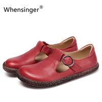 Whensinger - 2017 Women Flats New Full Grain Genuine Leather Fashion Spring Summer Shoes 3 Colors T828