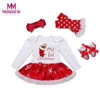 뜨거운 판매 4 개 아기 유아 여자 크리스마스 인쇄 양말 장난 꾸러기 투투 드레스 다리 따뜻한 머리띠 신발 세트 크리스마스 의상 아기