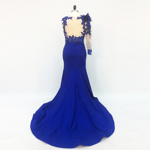 Image 3 - One Shoulder Long Elegant Evening Dresses Mermaid with Sleeves Beaded Royal Blue Formal Dresses Saudi Arabic Evening Party Gown