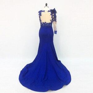 Image 3 - Une épaule longue élégante robes de soirée sirène avec manches perlées bleu Royal robes formelles saoudien arabe robe de soirée