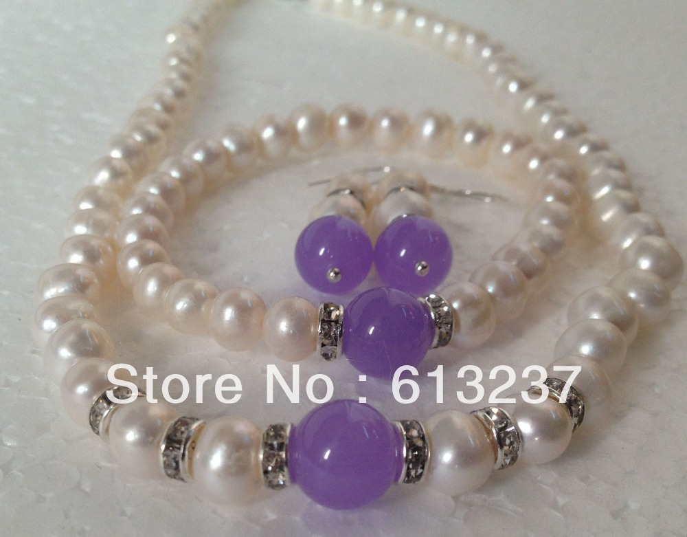 "Véritable 8-9 mm blanc Akoya Cultured Pearl colliers boucles d/'oreilles Set 18/"""