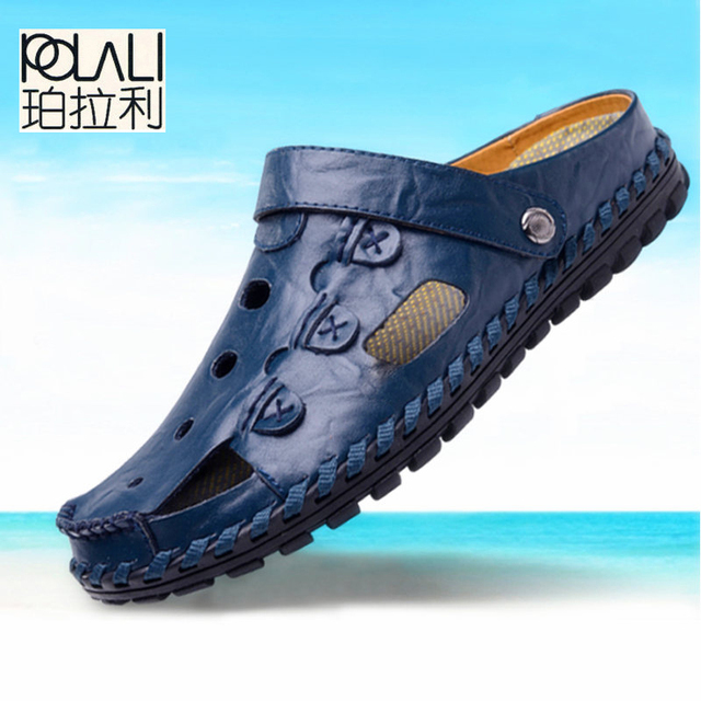 POLALI Size 38 44 Men Sandals Genuine Leather Fashion Summer Shoes Men Slippers Breathable Mens Sandals Causal Shoes Leather